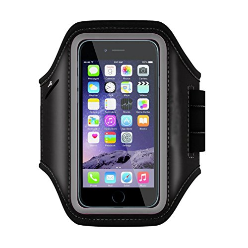 HULKER 301 iPhone 6 6S Armband Sport Running Exercise Gym Sportband +Touch Screen+Key holder+Credit Card/Money Holder+Sweat Proof +2 Earphone Wires Holes (Black)