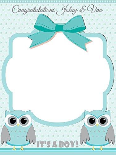 Custom Home Decor Owl Baby Shower Photo Booth Prop - Sizes 36x24, 48x36; Personalized Social Media Style owl Baby Shower Photo Booth Frame, animal baby shower, baby boy; Handmade Nursery Decor