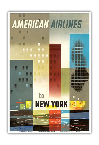 Vintage American Airlines (To New York - American Airlines - Vintage Airline Travel Poster by Weimer Pursell c.1950 - Master Art Print - 13in x)