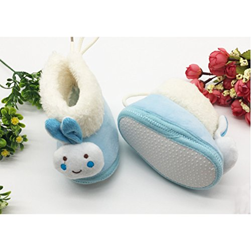 Zhhlinyuan Lovely Bebé Girls Winter Warm Plush Boot Infant Soft Cotton Shoes xsx010 Blue
