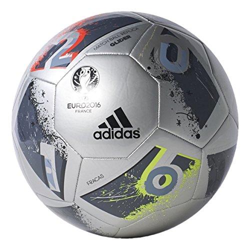 adidas Performance Euro 16 Glider Soccer Ball, Silver Metallic Grey/Night Metallic/Matte Silver/Dark Grey, Size 5