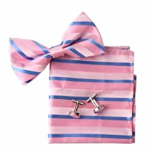 EBC1018 Relationships Fabric Pink Stripes Fantastic Great Designer Silk Pre-tied Bowtie Cufflink Hanky Set By Epoint