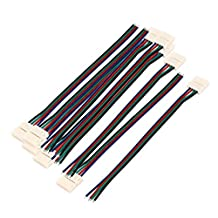 uxcell® 10Pcs 15cm Long 10mm Width 4 Pin Wire Connector for Led SMD 5050 RGB Strip
