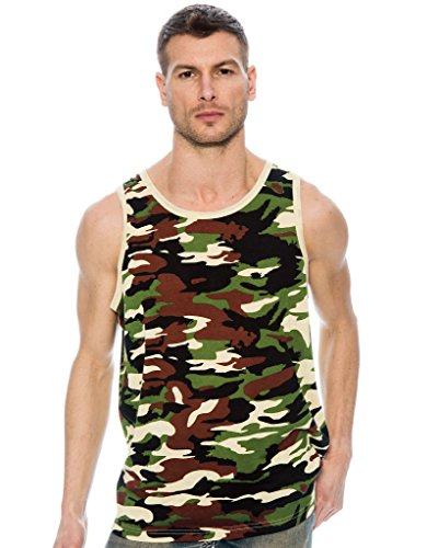 True Rock Men's Tonic Graphic Tank Top-Khaki Camo-Large ()
