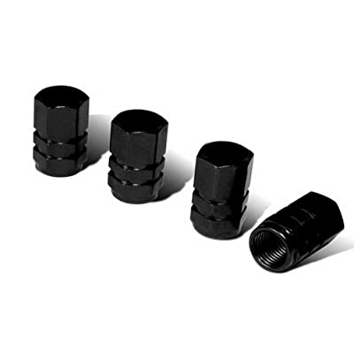 iJDMTOY (4) Tuner Racing Style Black Aluminum Tire Valve Caps (Hexagon Shape): Automotive