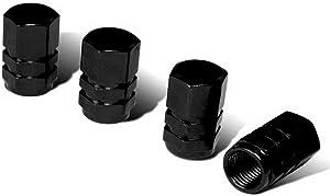 iJDMTOY (4) Tuner Racing Style Black Aluminum Tire Valve Caps (Hexagon Shape)