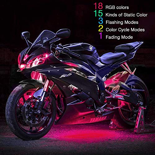 automotive, lights & lighting accessories, accent & off road lighting, led & neon lights,  neon accent lights  picture, RangerRider 12PCS Motorcycle LED Strip Lights kit, Multi-Color Accent Glow Neon Lights Lamp Flexible with Dual IR/RF/Sound Controller for Harley Davidson Honda Kawasaki Suzuki Ducati Polaris KTM BMW deals1