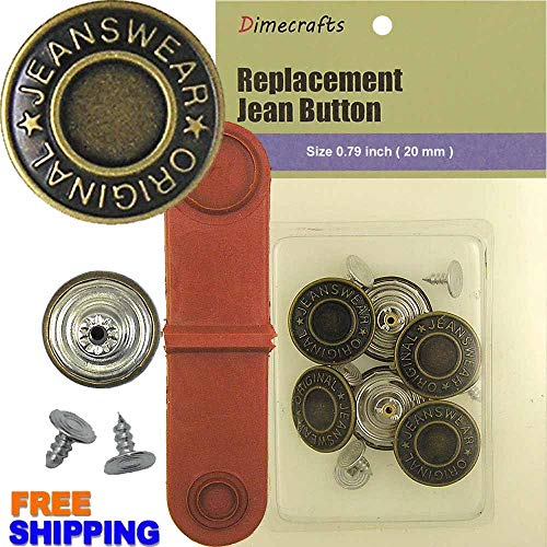 20 mm Replacement Jean Tack Buttons CT. 6 -