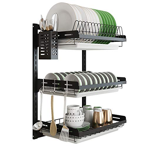 Hanging Dish Drying Rack Wall Mount Dish Drainer,3 Tier Junyuan Kitchen Plate Bowl Spice Organizer Storage Shelf Holder with Drain Tray With 3 hooks,Stainless steel black coating (3 tier, 21.8)