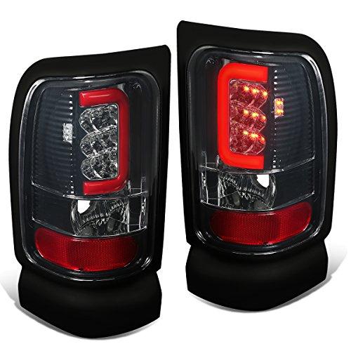 Dodge Ram 1500 / 2500 /3500 Pair of Chrome Housing Smoked Lens 3D Red LED U-Halo Tail Brake Lights