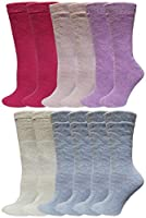Brushed Thermal Socks, 12 Pairs Men's Women's Insulated Warm Winter Thick Crew Boot Sock