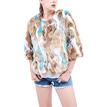 JTENGYAO Women's Faux Fur Coat Short Sleeve Winter Warm Parka Coat Outerwear Jacket
