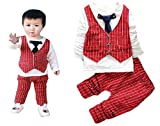 Alif_Laila - Baby Boy's Party Style Front Waistcoat Shirt With Matching Pant/Trouser (2pcs Set) (90, Red)
