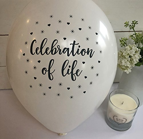 ANGEL & DOVE 25 White 'Celebration of Life' Biodegradable Funeral Remembrance Balloons - for Memory Table, Memorial, Condolence, Anniversary of the passing of a loved one