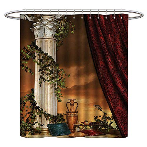 TheresaDewey Colorful Shower Curtain Gothic,Greek Style Scene Climber