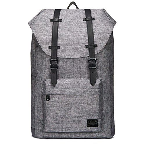 Travel Hiking Canvas Backpack black Retro Laptop Gray Student xn4wUIqB5