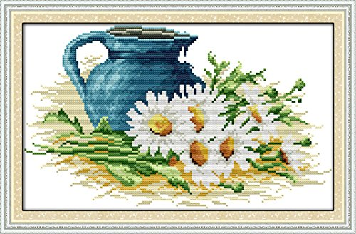 "eGoodn Cross Stitch Stamped Kit Pre-printed Pattern The Pottery And Daisy, 11CT Aida Fabric Size 17.7"" x 11"