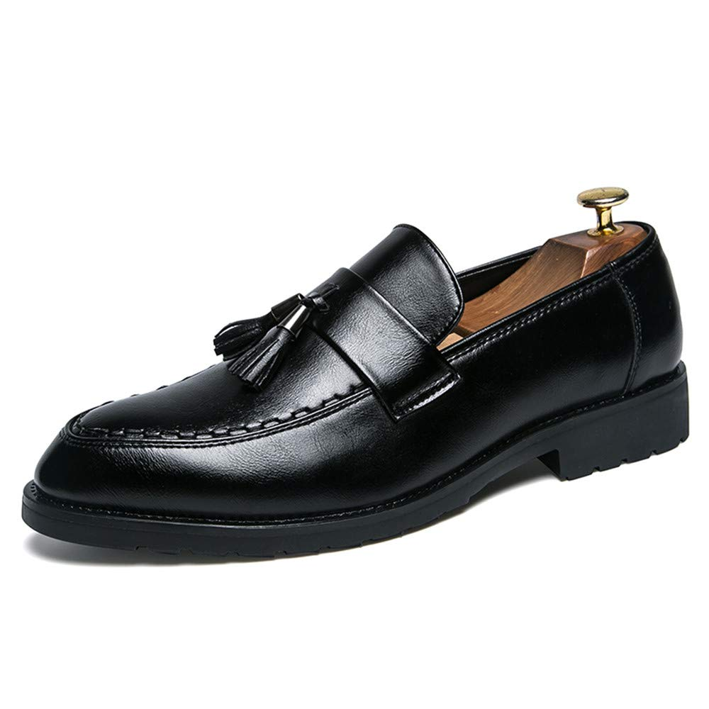 HYF Oxford Shoes Men's Business Oxford Casual Thick Fringed Character Sets Foot Patent Leather Formal Shoes Business Shoes for Men (Color : Black, Size : 8 M US)