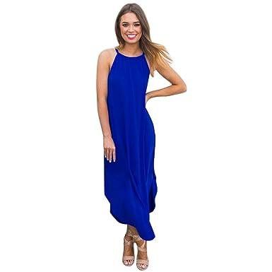 SANFASHION Bekleidung Vestido - Trapecio o Corte en A - Sin Mangas - para Mujer Azul 44 EU: Amazon.es: Ropa y accesorios