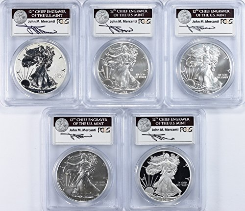 2011 Various Mint Marks Silver Eagle 2011 25th Anniversary $1 Silver Eagle Set First Strike PCGS MS-70/Proof-70 (Mercanti Signed Labels) (5 Coins) PR-70 ()
