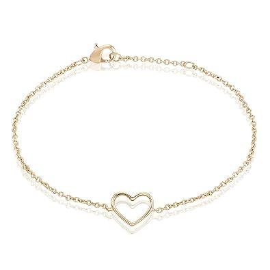 Bracelet chaîne avec cœur en laqué or pour femme, bracelet