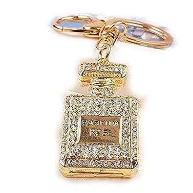 Porte-cl/és cr/éatif en forme de bouteille de parfum incrust/ée de strass en cristal pour offrir en cadeau d/'anniversaire