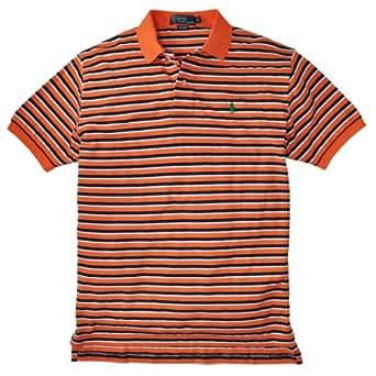 Polo Ralph Lauren Men's Classic Fit Pique Striped Polo, Resort Orange, XL