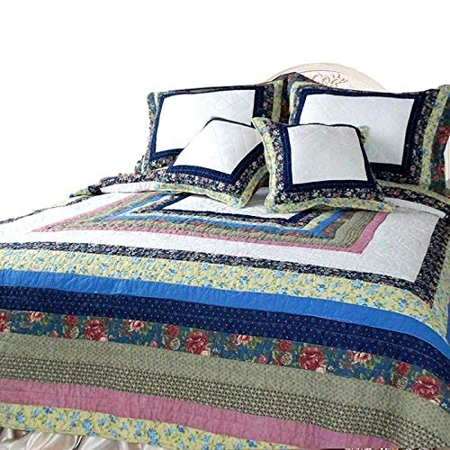 DaDa Bedding DXJ100286 Spring Patio Cotton Patchwork 5-Piece Quilt Set, -