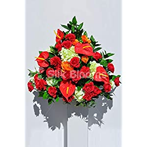 Silk Blooms Ltd Artificial Red Anthurium, Carnation and Rose Flower Display w/Ivory Hydrangea and Foliage 68