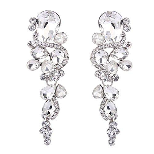 BriLove Women's Bohemian Boho Crystal Wedding Bridal Multiple Teardrop Chandelier Long Dangle Earrings Silver-Tone Clear (Rhinestone Large Earrings)