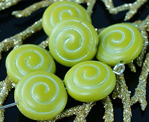 Matte Olive Green White Flat Round Coin Spiral Czech Glass Nautilus Ammonite Fossil Seashell Beads 13mm 8pcs