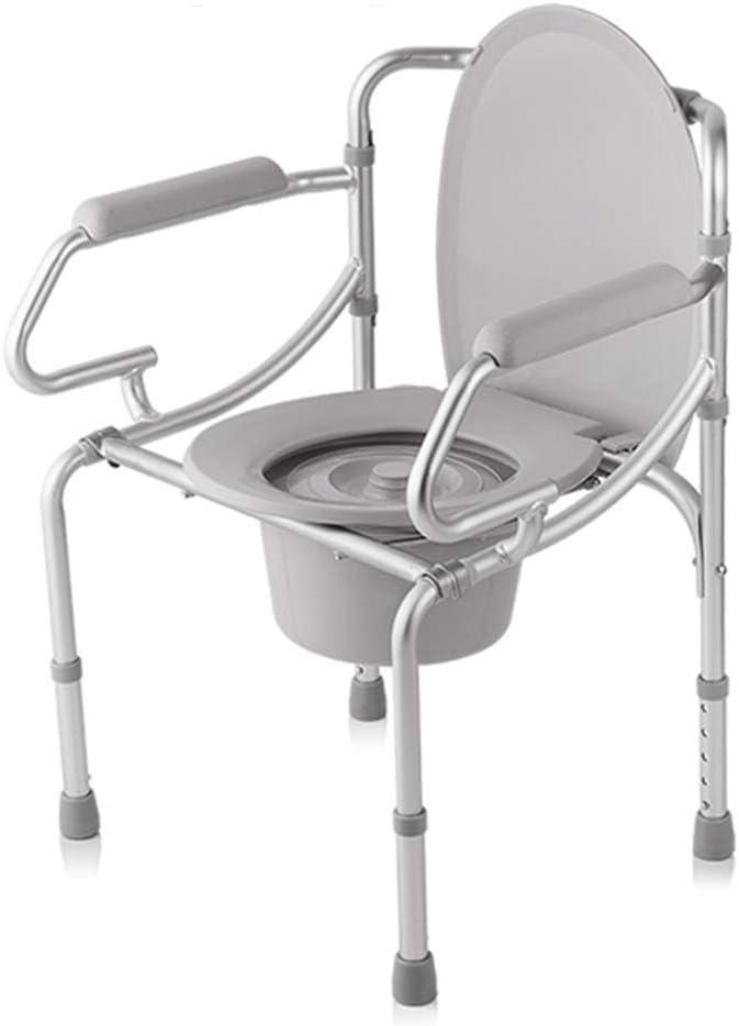 JFZCBXD Plegable Asiento del Inodoro, portátil Cómoda de la cabecera, de Altura Ajustable, Ancho 3 en 1 WC Médico Silla Taburete con Tapa, para Adultos, discapacitados, Ancianos