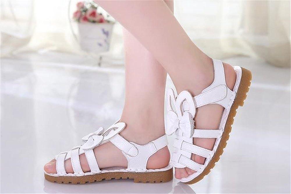 IINFINE Flower Leather Sandals Kids Girls Open Toe Flat Strap Sandal