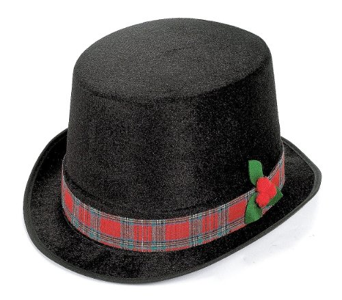Plaid Top Hat (Polyester Christmas Caroler Top Hat, One Size, Black)