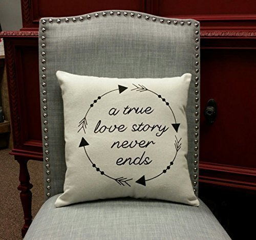 A true love story never ends decorative throw pillow cover - 16x16 inches. Great gift for Valentines Day, Wedding, Anniversary, Bridal - Tory Burch Returns