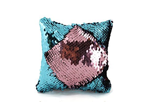 The Original Magic Flip Sequin Fidget Pillow - Pink & Aqua Square - Fidget Toy for Relaxing Therapy Increase Focus for Adults and Children Helps with Stress ADHD ADD Autism by Little Monkey 10S