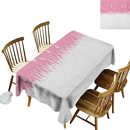 Anti-Wrinkle and Anti-Wrinkle Polyester Long Tablecloth for Weddings/banquets Field Farm Life Inspired Scene Cut into Half with Bushes and Wheat Art Print W14 x L108 Inch Hot Pink and White