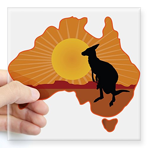 (CafePress Australia Kangaroo Square Sticker 3 X 3 Square Bumper Sticker Car Decal, 3
