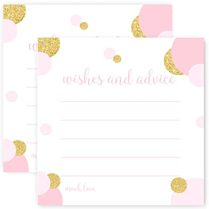 Advice And Wishes Baby Shower Game Card Pack Of 25 Blush And Gold