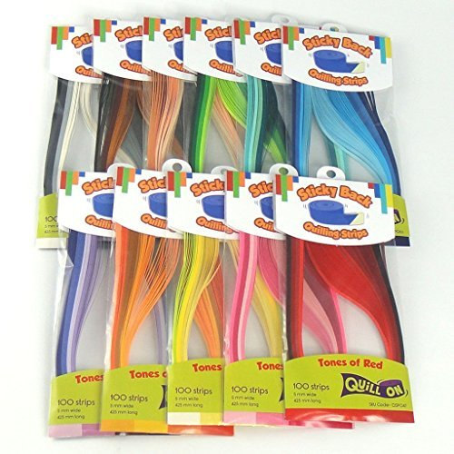Colour Splendor - Sticky Back 5 mm Quilling Strips - 1100 Strips in 44 Shades by Quill On