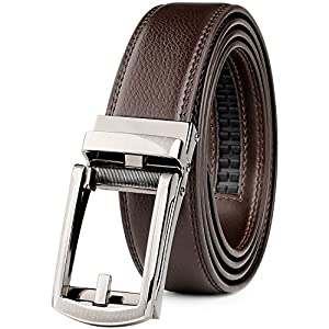 "WERFORU Leather Ratchet Dress Belt for Men Perfect Fit Waist Size Up to 44"" with Automatic Buckle"