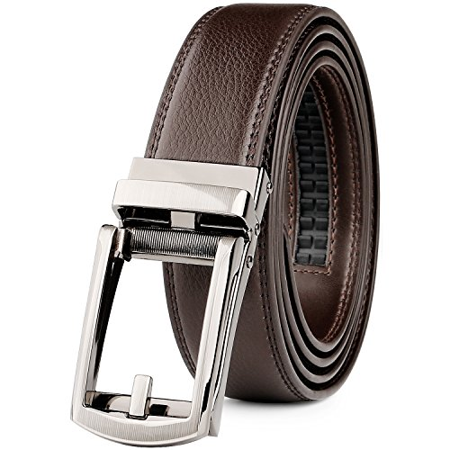 WERFORU Leather Ratchet Dress Belt for Men Perfect Fit Waist Size up to 50 inches with Automatic Buckle,Coffee,Suit Pant Size 30-44 inches