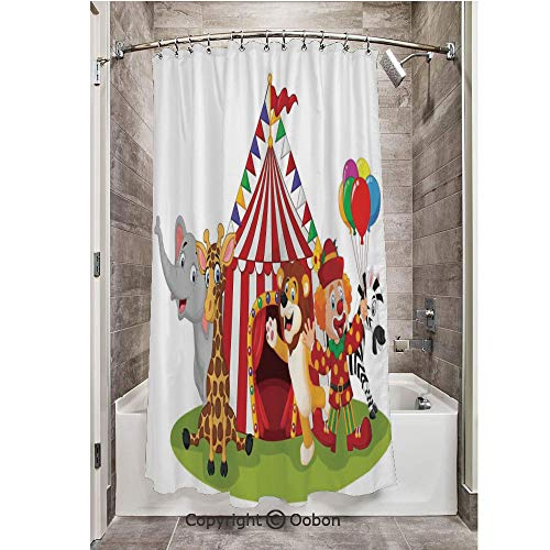 Oobon Shower Curtains, Cartoon Happy Animal Circus and Clown Zebra Giraffe Animals Lion Nostalgia, Fabric Bathroom Decor Set with Hooks, 72 x 72 Inches