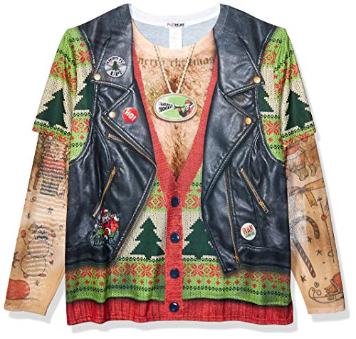 Faux Real Mens 3D Photo-Realistic Ugly Christmas Tattoo Sweater Long Sleeve T-Shirt T-Shirt