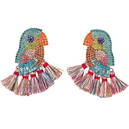 Dvacaman Crystal Dangle Earrings for Women - Statement Rhinestone Drop Friendship Earrings, Idea Gift for Mom, Sister and Friend (Bird Tassel)