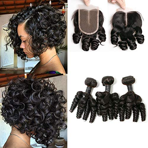 SingleBest Funmi Human Hair Bundles With 4x4 Lace Closure 8A Brazilian Virgin Hair Short Curly Weave With Closure for Black Women Natural Color(8 8 8+8inch)