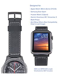 [Upgraded] Truffol 20mm NATO Lite Woven Nylon Band for Apple Watch 38mm, Misfit Vapor, Samsung Gear Sport - Replacement Watch Strap (Black / Space Gray)