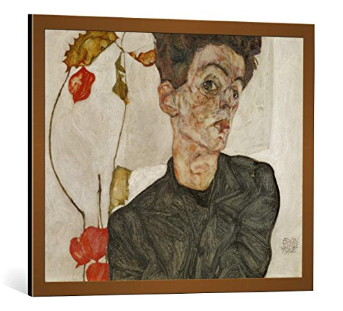 - kunst für alle Framed Art Print: Egon Schiele Selfportrait with Chinese Lantern Fruit - Decorative Fine Art Poster, Picture with Frame, 31.5x25.6 inch / 80x65 cm, Copper Brushed