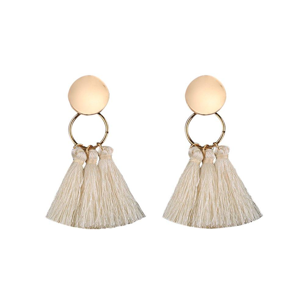 Enjoit Statement Thread Tassel Earrings Boho Dangle Chandelier Golden Drop Earrings for Women Girl