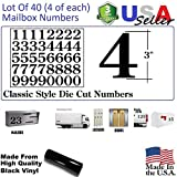 3'' Black Color Classic Mailbox Numbers,Lot of 40 (4 of each number form 0 to 9) 3 inch tall, Black Vinyl Mailbox Numbers,Doors,Tool Box,Locker,Car,Truck,Address Decal Stickers (Century)